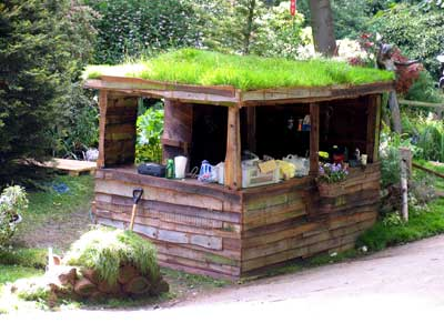 This open air rustic hut looks like it could be a concession stand in The Hobbit.