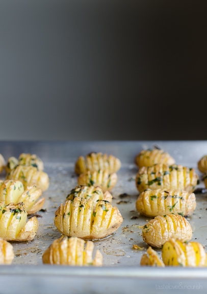 Hasselback Garlic and Herb Baby Potatoes by taste love and nourish